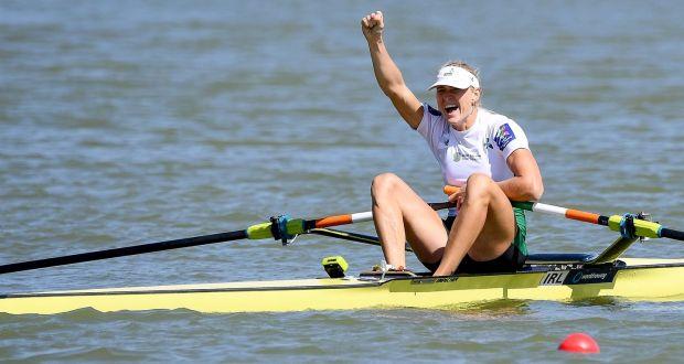 bda5659379abd Ireland s Sanita Puspure celebrates winning the gold medal at the World  Rowing Championships in Bulgaria.