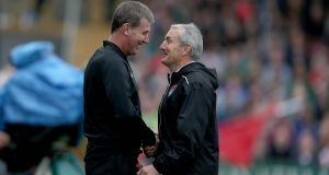 Cork City manager John Caulfield and Dundalk manager Stephen Kenny. Photograph: Donall Farmer/Inpho