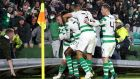 Celtic's Leigh Griffiths scores the winning goal at Celtic Park. Photograph: PA