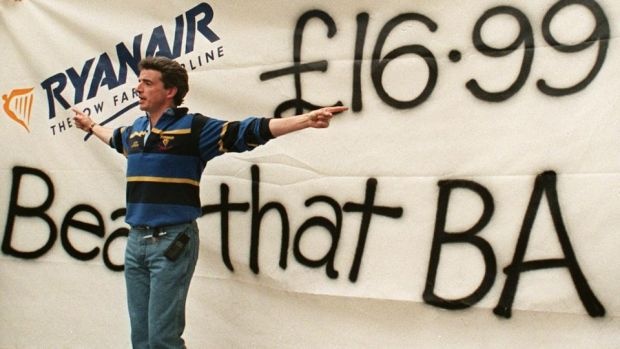 Ryanair: Michael O'Leary launches a low-fares publicity campaign outside a British Airways travel shop in September 1998. Photograph: Sinéad Lynch/AFP/Getty