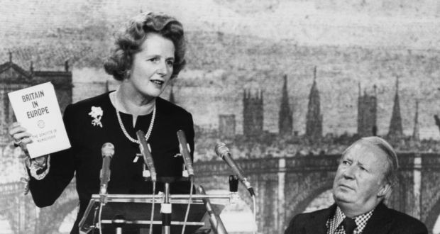895d05d03baad Conservative Party leader Margaret Thatcher and former leader Edward Heath  at a campaign meeting in 1975