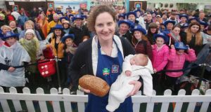 Here's one I made earlier ... Emma Ferguson with three-week-old son Paddy and her winning loaf