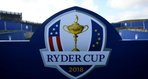 The Ryder Cup logo at Le Golf National in Guyancourt, near Paris, where the competition will take place from September 28th to September 30th. Photograph: Getty