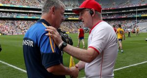 Tyrone's manager Mickey Harte and Kevin McStay, manager of Roscommon at the All-Ireland senior championship quarter-final. Photograph: Bryan Keane/Inpho