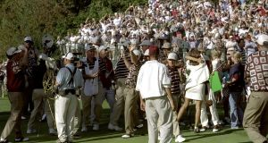 The 1999  Ryder Cup  ended in controversy when  the USA  team, their wives and an  NBC cameraman ran  onto the 17th green after Justin Leonard of the US holed out even though Jose Maria Olazabel still had a putt to halve the hole. Photograph: Getty Images