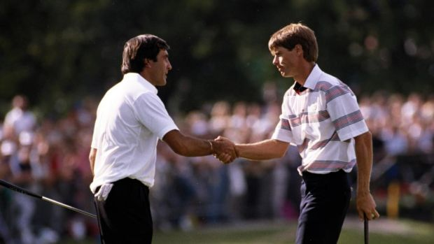 "Seve Ballesteros of Europe and Paul Azinger of the USA shaking hands during a 1989 Ryder Cup match at The Belfry in England. Seve famously called the American team ""eleven nice guys and Paul Azinger"". Photograph: Getty Images"