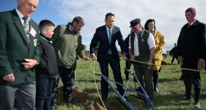 Taoiseach Leo Varadkar takes the reins as he tries his hand at ploughing during a visit to the Irish 2018 National Ploughing Championship in Tullamore. Photograph: PA