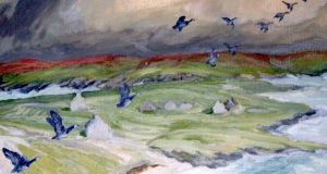 Greenland barnacle geese wintering on Inishkea. Illustration: Michael Viney