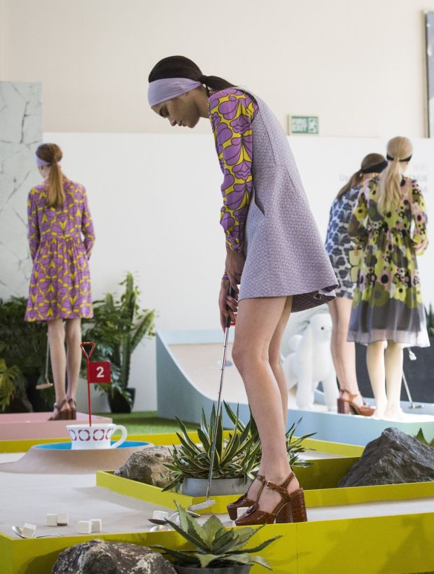 Orla Kiely: models at a crazy-golf-themed show at London Fashion Week in 2015. Photograph: Jack Taylor/AFP/Getty