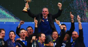 Europe team captain Paul McGinley celebrates winning the 2014 Ryder Cup with his team  at the Gleneagles Hotel in  Scotland. Photograph:   Mike Ehrmann/Getty Images