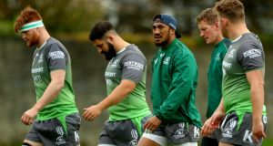 Seán O'Brien, Peter McCabe, Bundee Aki and Eoin Griffin at a Connacht squad training sesion at Sportsground, Galway. Photograph: James Crombie/Inpho
