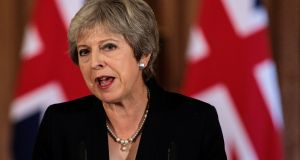British prime minister Theresa May ruled out two of the options still on the table after the remains of Chequers have been taken away. Photograph: Jack Taylor/Reuters