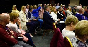 A setion of the crowd at the public meeting in Portmarnock. Photograph: Cyril Byrne/The Irish Times