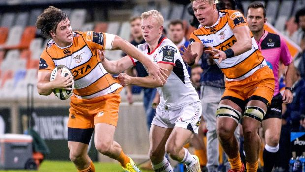 Ulster's David Shanahan tackles Benhard Janse van Rensburg of the Cheetahs during a dramatic draw in Bloemfonteni. Photograph: Frikkie Kapp/Inpho