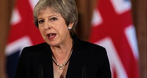 British prime minister Theresa May makes a defiant statement on Brexit negotiations from Downing Street. Photograph: WPA Pool/Getty Images