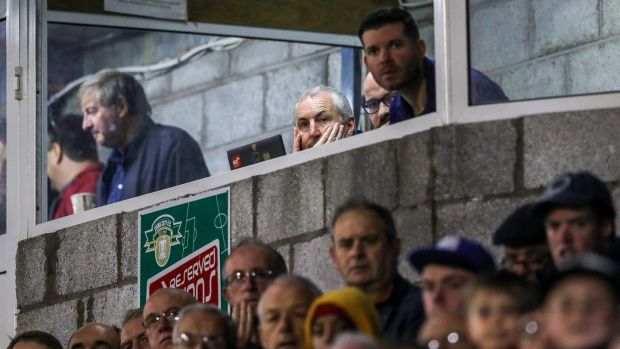 Cork City boss John Caulfield was sent to the stands for the second-half of his side's 1-0 defeat to Dundalk. Photograph: Ryan Byrne/Inpho