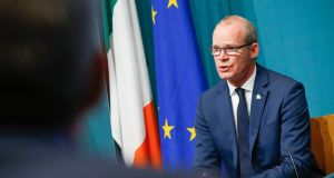 Tánaiste  Simon Coveney  speaking in Government Buildings on Thursday about Brexit preparedness. Photo: Julien Behal