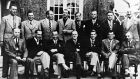 A group picture of the British team (starting with back row, left to right) Alf Padgham (selector), Arthur Lees, Jimmy Adams, Max Faulkner, Fred Daly, Dick Burton, Laurie Ayton, Arthur Havers (selector), Commander Charles Roe (PGA secretary) Sam King, Charlie Ward, Charles Whitcombe (non-playing captain), Ken Bousfield, Dai Rees, Arthur Lacey (chairman). Photo: Bob Thomas/Getty Images