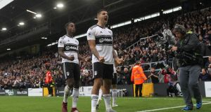Aleksandar Mitrovic celebrates his equaliser for Fulham against Watford. Photograph: David Klein/Reuters