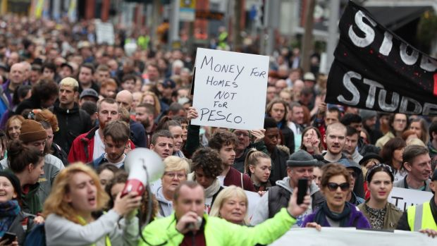 People during a housing protest in Dublin. Photograph: Brian Lawless/PA