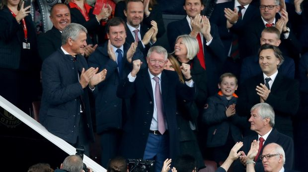 Alex Ferguson made his first visit to Old Trafford after undergoing emergency brain surgery in May, as Manchester United were held 1-1 by Wolves. Photograph: Martin Rickett/PA