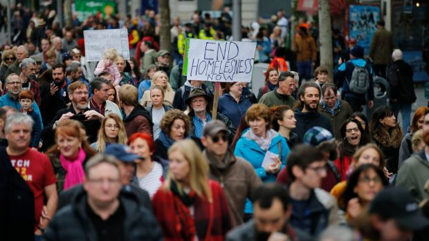 Protesting over the the housing shortage and homeless crisis in Dublin city. Photograph: Nick Bradshaw/The Irish Times
