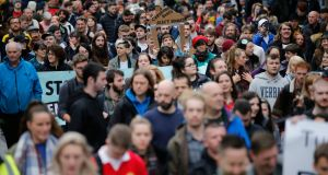 Crowds march on the National Day of Action over the housing shortage. Photograph: Nick Bradshaw/The Irish Times