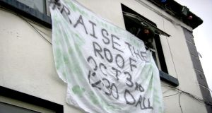 "Glebe House occupiers draped a banner from two upstairs windows saying, ""Raise the Roof 2.30pm, October 3rd"" in reference to a housing protest outside Dáil Éireann at that time. Photograph: Kathleen Harris/The Irish Times"