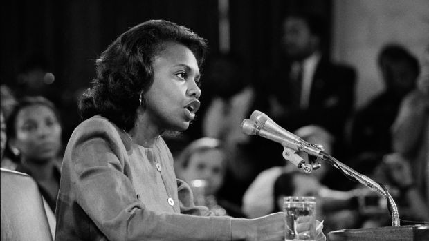 Anita Hill testifies during the Clarence Thomas harassment hearings in Washington, October 11th, 1991. Photograph: Paul Hosefros/The New York Times