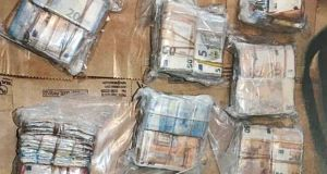 Some of the Kinahan drugs cartel cash seized by gardaí. Photograph: Garda Press Office
