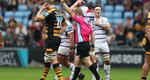 Leicester Tigers' Will Spencer  is shown the red card by referee Ian Tempest   earlier this month at The Ricoh Arena, Coventry. Photograph: PA