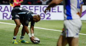 Racing 92's  Simon Zebo scoring  a try against  Castres on Saturday  at the Paris La Defense Arena in Nanterre. Photograph:  Getty Images