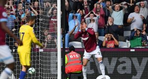 West Ham United's Andriy Yarmolenko after missing a golden late chance against Chelsea. Photograph: Ben Stanstall/AFP