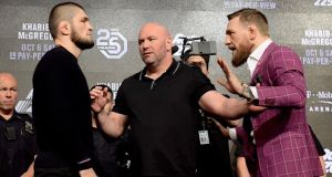 Khabib Nurmagomedov and Conor McGregor face off in New York. Photograph: Steven Ryan/Getty