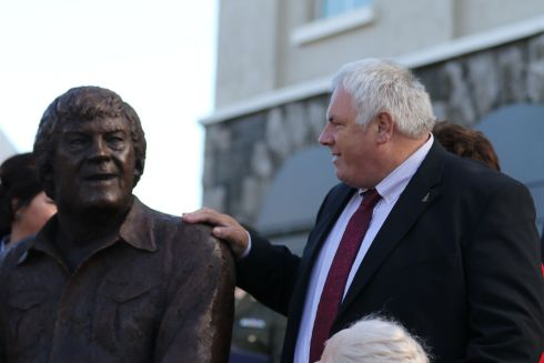 Big Tom's Son Thomas and the statue in the town.  Photo Nick Bradshaw for The Irish Times