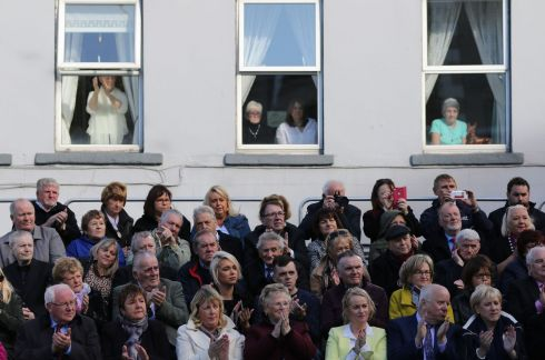 Spectators gathered in the town for the unveiling by President  Higgins.  Photo Nick Bradshaw for The Irish Times