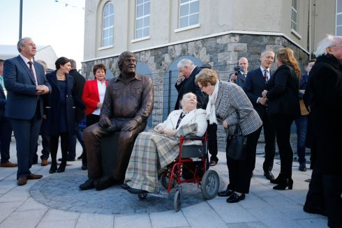 Margaret Kavanagh (sister of Big Tom) joined President Higgins and  extended family members after the unveilling. Photo Nick Bradshaw for The Irish Times