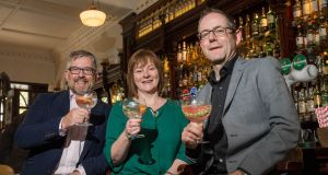Peter Clancy, Sheila Mullen and Michael Clancy, co-founders of Lough Ree Distillery: the distillery is the first to open in Longford since 1818. Photograph: Conor Healy