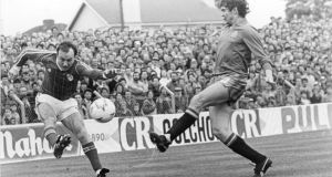 Dave Langan in action for Ireland v Spain in 1985 in Cork, attendance 15,000. The Liam Miller match is set to top this