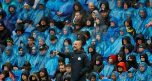 City manager Pep Guardiola during the Premier League  match against Cardiff.  He has insisted many times that the Champions League is  a completely different competition to the Premier League. Photograph:  Reuters/Andrew Boyers
