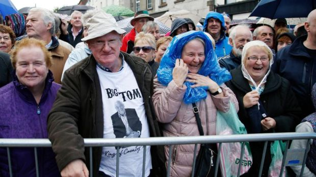 People gather for the unveiling of the Big Tom statue in Castleblaney, Co Monaghan. Photograph: Nick Bradshaw
