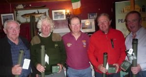 Team winners at the Vintner's competition with sponsor Michael Twohig (centre).
