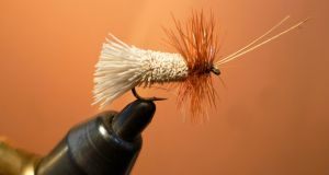 A Goddard's Sedge lure tied by Jimmy Tyrrell of Irish Fly Craft.