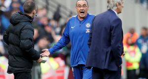 Chelsea manager Maurizio Sarri  during the match against  West Ham at London Stadium. It ended scoreless. Photograph: Reuters/David Klein