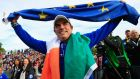 Winners in 2014: Europe team captain Paul McGinley celebrates winning at the Gleneagles Hotel, Scotland. (Photograph:  Jamie Squire/Getty Images)