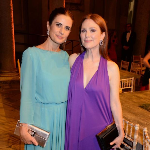 Green Carpet: Livia Firth, the awards' founder, and Julianne Moore, wearing Ferragamo. Photograph: Dave Benett/Getty
