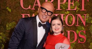 Green Carpet: Marco Bizzarri with Sinéad Burke, winner of the Leaders Award, backstage at La Scala, in Milan, on Sunday evening. Photograph: Dave Benett/Getty