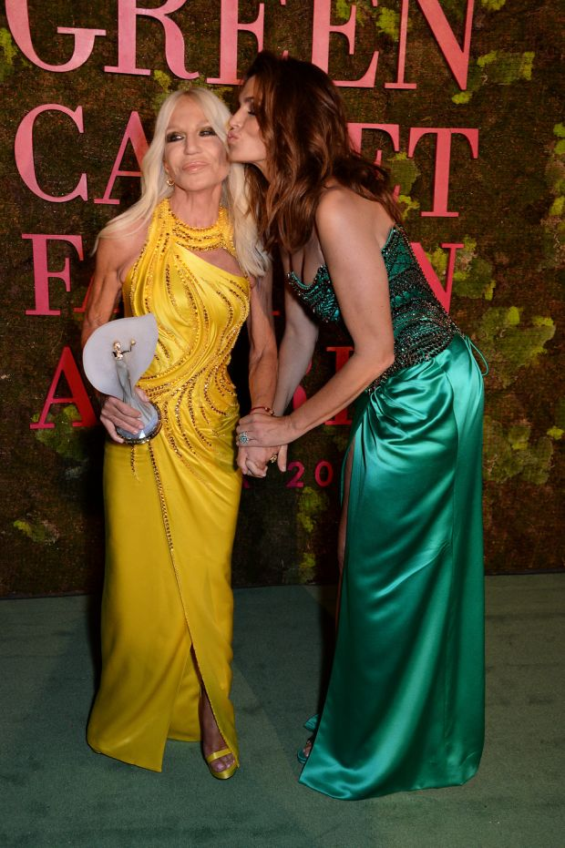 Green Carpet: Donatella Versace and Cindy Crawford. Photograph: Dave Benett/Getty