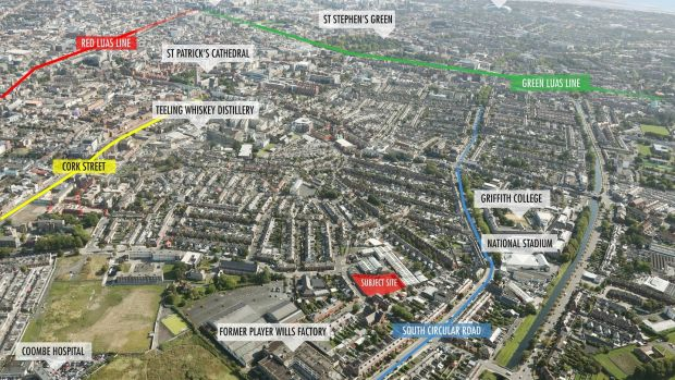 The site is is 2.2km from St Stephen's Green and 1.5km from the Luas.