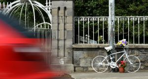 A Ghost Bike, locked to a pole on Conyngham Road, Dublin, in memory of cyclist Daragh Ryan. Photograph: Dara Mac Donaill / The Irish Times